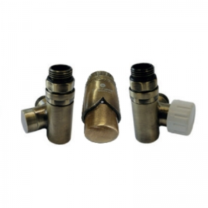 Thermostatic set for installation of an electric heater - antique brass (retro)